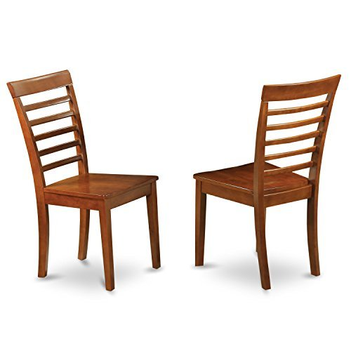 East West Furniture MLC-SBR-W Kitchen Chair Set with Wood Seat, Saddle Brown Finish, Set of 2