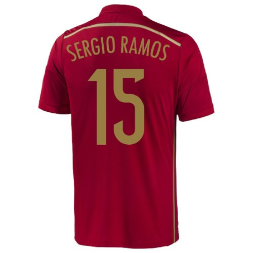 adidas Sergio Ramos #15 Spain Home Jersey World Cup 2014 (Youth) (YXL) RED