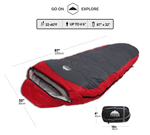 All-Season-XL-Mummy-Sleeping-Bag-Perfect-for-Camping-Hiking-Backpacking-Travel-Comfort-Temperature-Range-of-32-60F-Fits-Adults-up-to-66-Tough-Ripstop-Waterproof-Shell-High-Loft-Fill