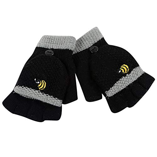 Kids Girls Boys Winter Magic Stretch Mittens Cartoon Honeybee Patchwork Keep Warm Easy-On Skiing Snow Mittens Gloves (Black, 2-4 Years kids) (Best Stretches For Skiing)