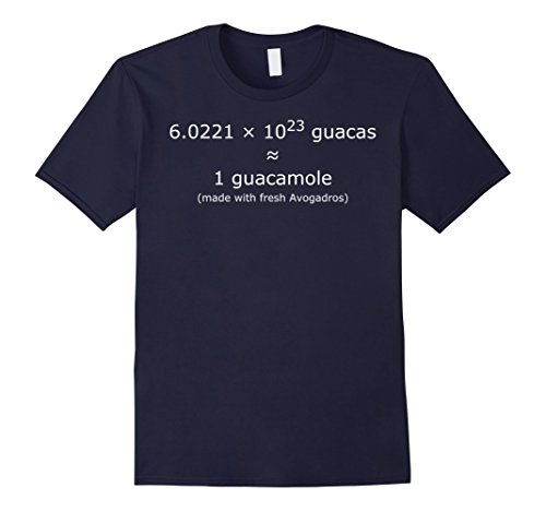 Mens Avogadro's number Guacamole T-Shirt for Chemists, Scientists Medium Navy