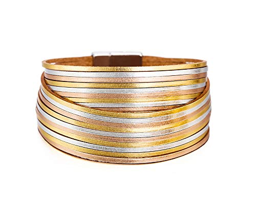 - Fesciory Women Multi-Layer Leather Wrap Bracelet Handmade Wristband Braided Rope Cuff Bangle with Magnetic Buckle Jewelry (Gold and Silver)