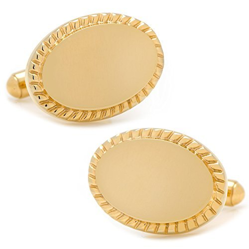 (Cufflinks Metal Mens Cuff Links 14K Gold Plated Rope Border Oval Engravable Gold)
