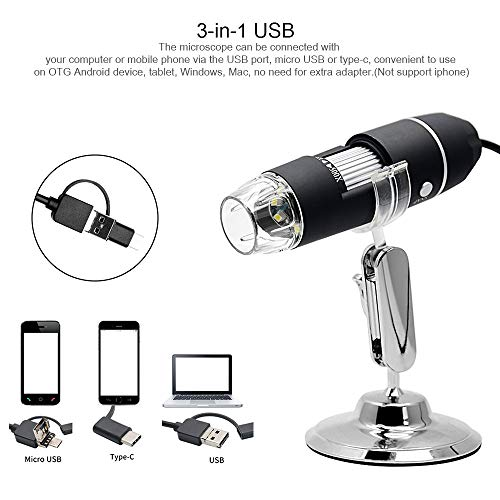 Microscope, KKmoon USB Digital Zoom Microscope Magnifier with OTG Function 8-LED Light Magnifying Glass 1000X Magnification with Stand