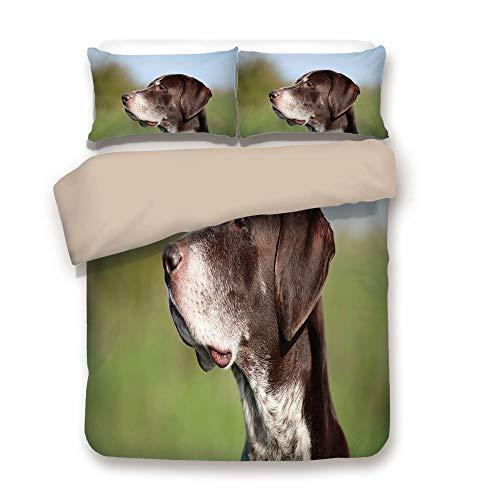 Duvet Cover Set,Back of Khaki,Hunting Decor,German Short Haired Pointer in Wilderness Portrait Photo Kurzhaar Pet Dog,Multicolor,Decorative 3 Pcs Bedding Set by 2 Pillow Shams,Full