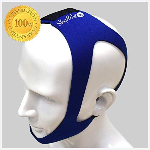 [SleepWell Pro Adjustable Stop Snoring Chin Strap (Medium, Blue)] (Deluxe Smoke Mask)