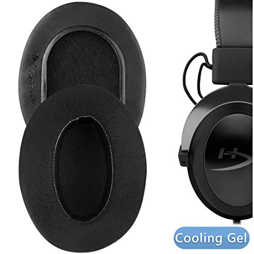 Geekria Sport Cooling Gel-Infused Cloth Ear Pads for HyperX Cloud II, 2, Mix, Alpha, Cloud Flight, Stinger, Revolver S Headphone Ear Pad/Ear Cushion/Ear Cups/Ear Cover (Extra Thick/Black)
