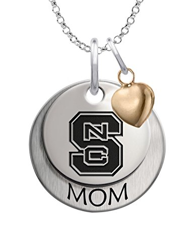 (North Carolina State Wolfpack Sterling Silver Stacked MOM Charm Necklace with Heart Accent)