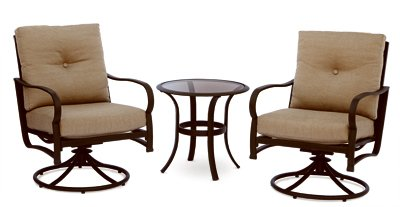 - Patio Master 3 Piece Bellevue Deep Seating Bistro Set, Aluminum/Steel Patio Chairs