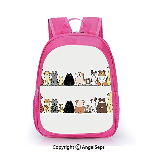 Casual Backpack Waterproof For Kindergarten Students,Cats and Dogs Collie Calico Labrador Scottish Shorthair Tabby Shih Tzu Pet Lovers Art Print Decorative,15.7inch,Backpack For Kids Water Resistance