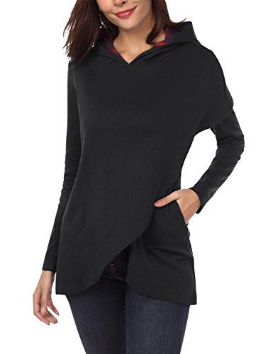 DJT Womens Long Sleeve Hoodies Asymmetric Hem Pullover Lightweight Sweatshirt Tops