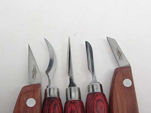 5 pc. Mini Detail Chip Wood Carving Knives Whittling Luthiers HOCK USA