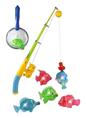 Magnetic Light Up Fishing Bath Toy Set for Kids - Rod & Reel with Turtle and 5 Unique Fish