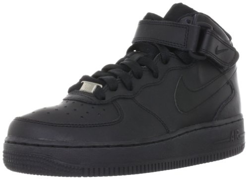 Nike Air Force 1 Mid Gs Kids Trainers Black Black - 3 UK - Nike Air Force Trainers