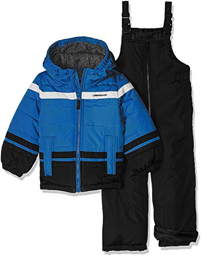 London Fog Boys' Little 2-Piece Snow Pant & Jacket Snowsuit, Royal Blue/Black, 4