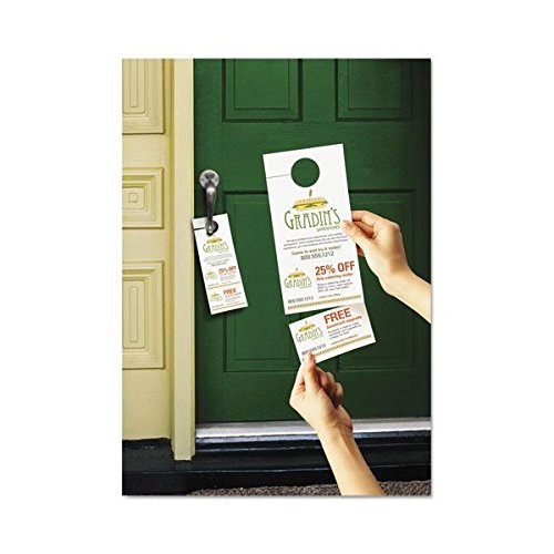 Avery-Dennison 16150 Door Hanger with Tear-Away Cards44; Matte White - 4.25 x 11 in.