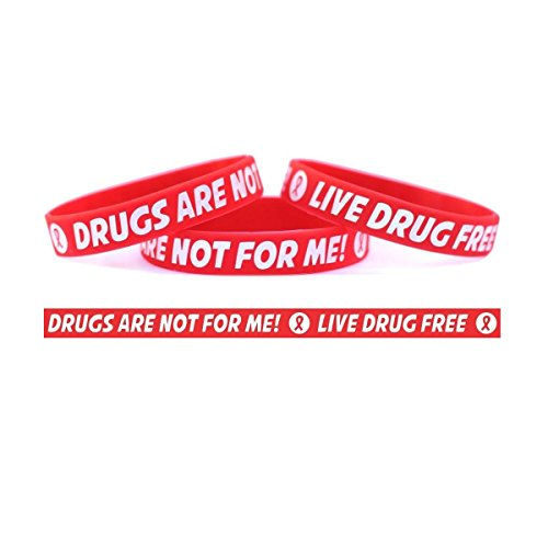 50 Adult 50 Child Red Ribbon Wristbands - Drugs Are Not For Me / Live Drug Free