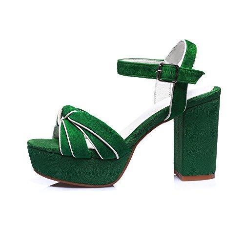Amoonyfashion Hebilla Para Mujer De Tacón Alto Imitación De Gamuza Sólida Sandalias De Punta Abierta Verde