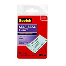Scotch Self-Seal Laminating Pouches, Business Card Size, 25 Pouches, (LS851G)
