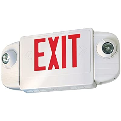 Elco Lighting EE83HR LED Exit Sign with Two Adjustable 6V MR16 Emergency Lights Red or Green Letters Single/Double Face Configurable