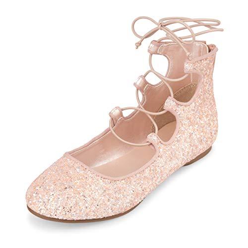 The Children's Place Girls' Strap Ballet Flat, Gold Youth 5 Regular US Big Kid (Girls Sparkle Gold)