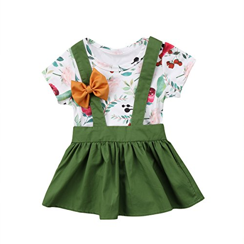 Emmababy Toddler Baby Girl 2pcs Outfits Floral Short Sleeve Ruffled T-Shirt Top+Suspender Skirt Overalls Set (Green, 18-24Months) (Suspender Mini)
