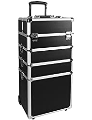 Makeup Rolling Train Case 4-in-1 Professional Artist Trolley Cosmetic Organizer with 2 Wheels Durable Aluminum...