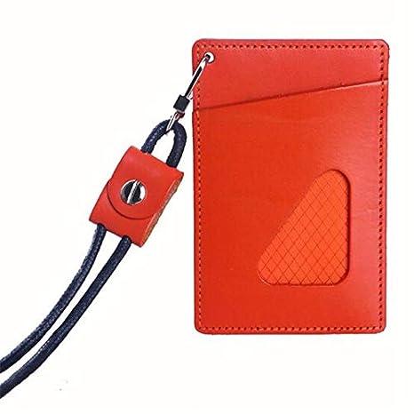 9b427b627c8f Amazon.com: Lannmart Badge Holder with Lanyard Leather Bank Credit ...