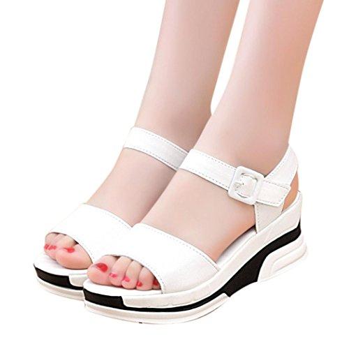 Transer® Damen Sandalen Blockabsatz Dicke Mid Heel Schwarz Weiß PU-Leder+Gummi Sandalen (Bitte achten Sie auf die Größentabelle. Bitte eine Nummer größer bestellen) Weiß