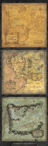 Lord Of The Rings Maps Of Middle-earth Door Poster