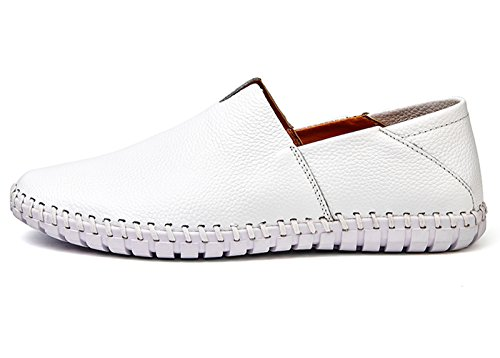On Noblespirit Leather Casual Slip Shoes White Loafers Men's Driving B7wYBzr