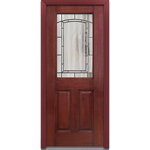 National Door Company Z021944L Prehung Left Hand Inswing Entry Door, Solstice Decorative Glass, 42371 Lite, 2-Panel, Fiberglass Mahogany, 32'' x 80'' by National Door Company