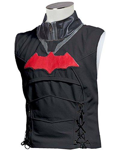 Laverapelle Men's Fauxl Leather Batman Arkham Knight Red Hood Men Vest Only - (Authentic Black Leather Vest)