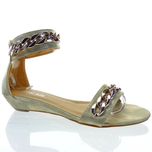 Kickly-Sandale zapatillas modo tobillo mujeres cadenas talón compensado 3 CM, interior sintético, color dorado, color dorado