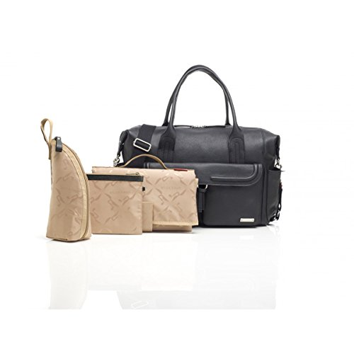 Storksak Charlotte Leather Shoulder Bag Diaper Bag, Black