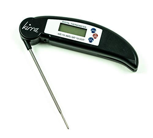 KIRRA Instant Read Digital Pocket Thermometer | Cooking Thermometer For Meats, Liquids, Kitchen Grill Or BBQ | Battery Included | Easy To Use and Clean | Stainless Steel Probe | Bright Backlight (Stainless Steel Pocket Thermometers)