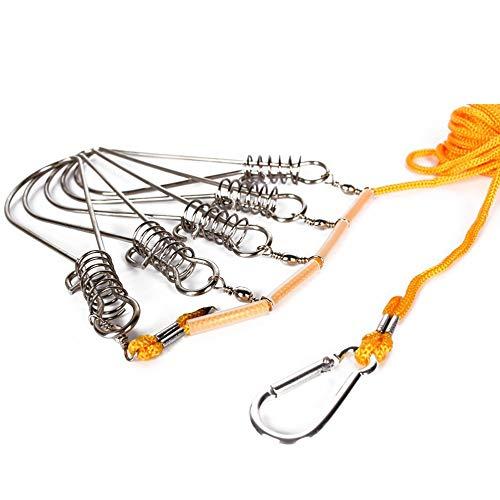 Mimagogo Edelstahl Fischverschluss-Schnalle mit Nylon-Seil Angeln Stringer Fisch sperren