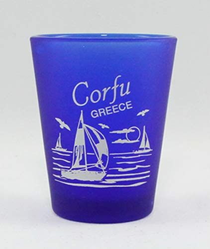 Corfu Greece Cobalt Blue Frosted Shot Glass