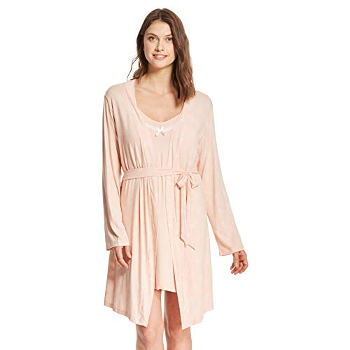 Kathy Ireland Womens Lace Trim Chemise Nightgown & Belted Wrap Robe Sleepwear Set Peach Medium (Lace Belt Belted)