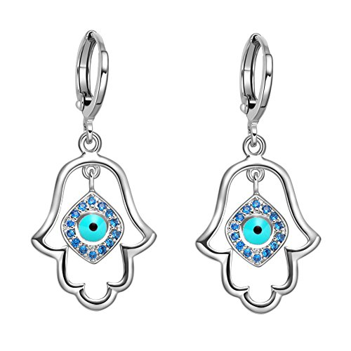 (Magical Evil Eye Protection Powers Hamsa Hand Amulets Silver-Tone Royal Blue Sparkling Crystals Earrings)
