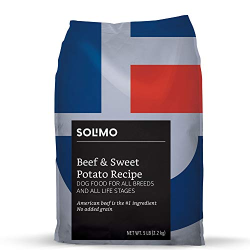 Amazon Brand - Solimo Ultra-Premium Dry Dog Food, No Added Grain, Beef & Sweet Potato Recipe. 5 Lb. Bag