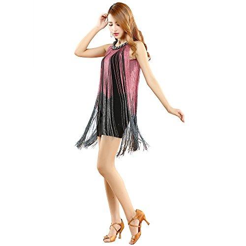 de Las la Muchachas Baile Latino NA Danza rose de Mujeres YI WU de Royal Blue Trajes de Borla Latina SHENG Las xgTqP7a