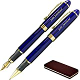 Dayspring Pens - Personalized ARIZONA Fountain and Rollerball Pen Gift Set with Case - Blue. Customized Engraved Gift for Men or Women. …