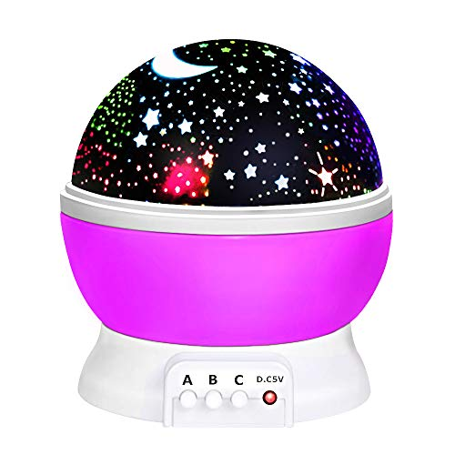 Toys for 7-8 Year Old Boys Girls, Tisy Wonderful Quiet Rotating Starlight Toys for 2-10 Year Old Girls Romantic Magical Christmas Gifts for 2-10 Year Old Boys Stocking Stuffer Purple TSUSXK002 -