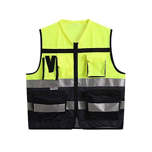 Reflective Safety Vest High Visibility Safety Vest Yellow and Dark Blue Hi Vis Vests Surveyor Safety Vest Muti-function Vest (XL)