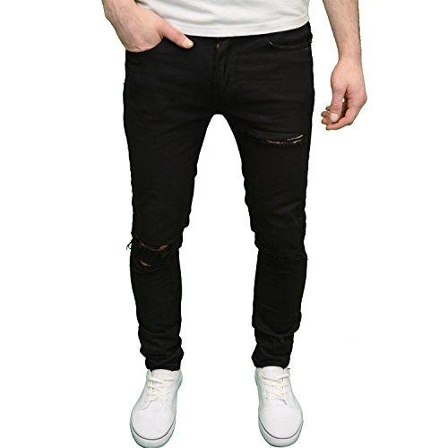 Branded Denim (Soulstar Mens Designer Branded Stretch Super Skinny Fit Ripped Jeans (38W x 32L, Black))