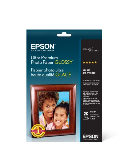 Epson Ultra Premium Photo Paper GLOSSY (5x7 Inches, 20 Sheets) (S041945) (Heavyweight Glossy Ultra Photo)