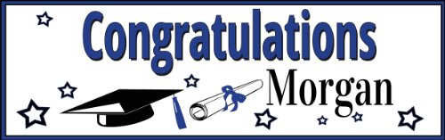 Blue Graduation Star Personalized Banner