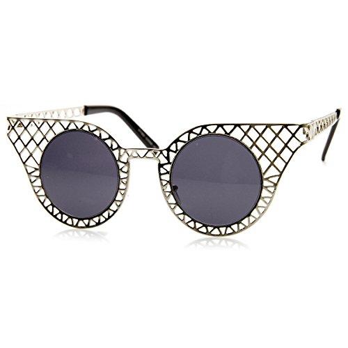 zeroUV - High Fashion Metal Criss Cross Cut Out Cat Eye Sunglasses (Silver - Sunglasses Criss Cross