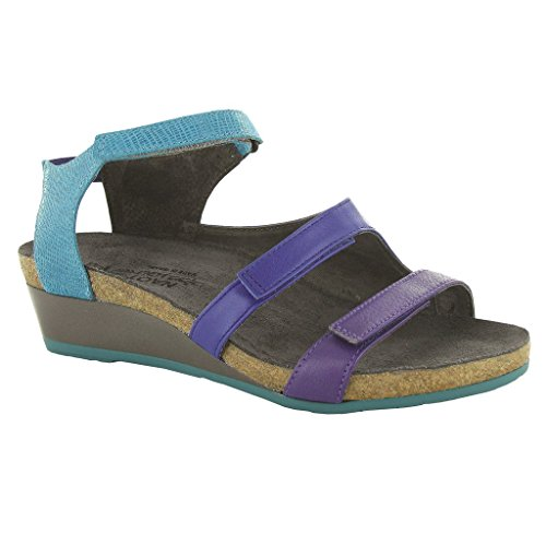 Royal Blue/Aquamarine Leather Goddess 6 B(M) US (Aqua Wedges)